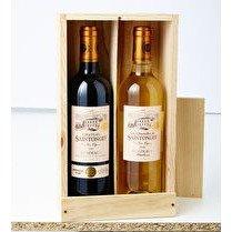 SAINTONGEY Bordeaux AOC Caisse bois de 2 bouteilles comprenant 1 château Saintongey VV  1 Charmilles de Saintongey VV  - 2 x 0.75 cl 13%