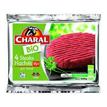 CHARAL Steaks hachés Bio Pur boeuf, 15% MG, longue conservation - 4 x 100 g