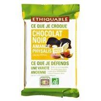 ETHIQUABLE Chocolat noir 65% amandes entières physalis Pérou BIO