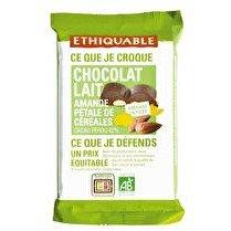 ETHIQUABLE Chocolat lait 42% amandes entières, pétales de céréales Pérou BIO