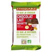 ETHIQUABLE Chocolat lait 42% noisettes entières Pérou BIO